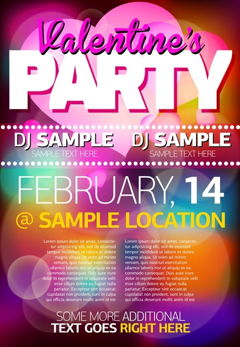 Valentine's Party Flyer Vector
