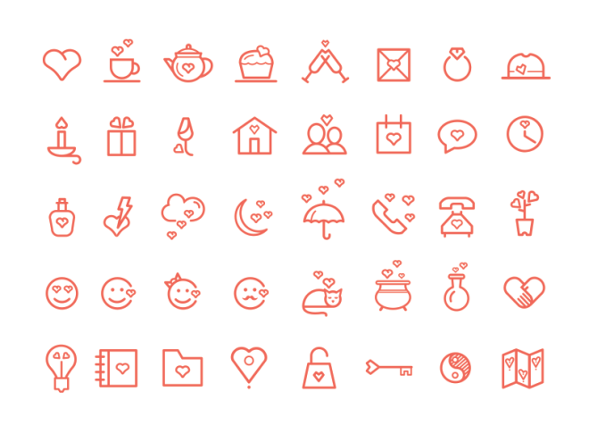 40 Valentine's Day Icons Set (PSD+Vector)