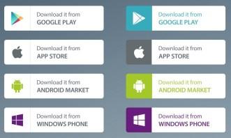 App Market Download Buttons PSD