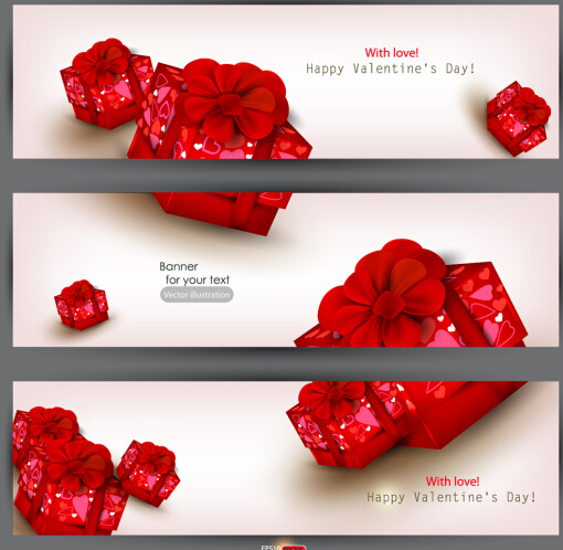 Valentine's Day Banners with Red Gift Boxes Vector