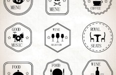 9 Food and Drinks Badges Vector