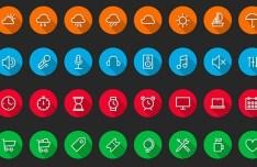 32 Circular Vector Icons with Long Shadow