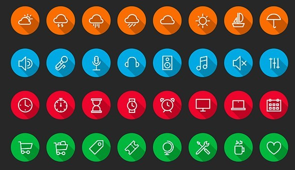 32 Circular Vector Icons with Long Shadow