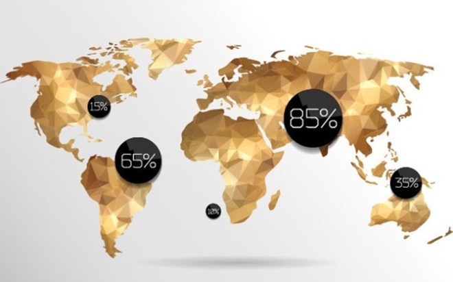Golden Polygon World Map Vector
