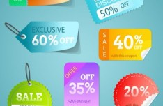 Discount & Coupon Label Set Vector