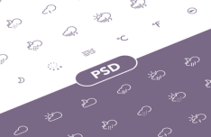 42 Weather Line Icons PSD