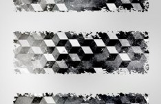 3D Grey Cubes Banner Set Vector