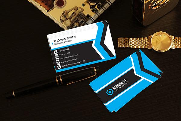 free modern blue corporate business card template psd