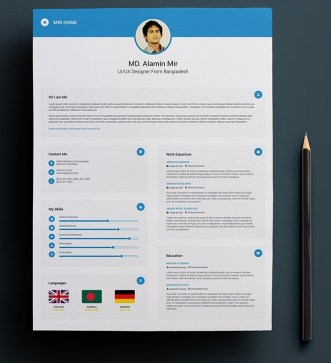 Resume with Business Card Mockup PSD