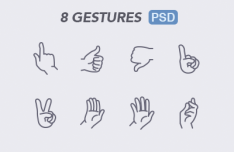 8 Touch Gestures PSD
