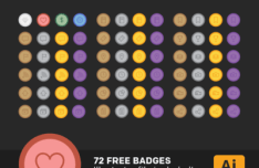 72 Minimal Outline Badges Vector