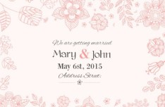 Red Flowers Wedding Invitation Card Template Vector