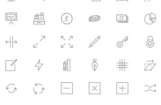 90 Thin Line Icons PSD