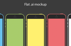 Flat iPhone 5C Mockups Vector