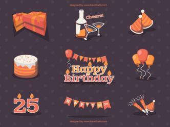 Birthday Elements Vector