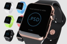 6 Colors Apple Watch Mockups PSD