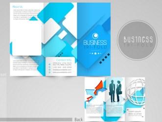 Creative Blue Tri-fold Business Brochure Vector