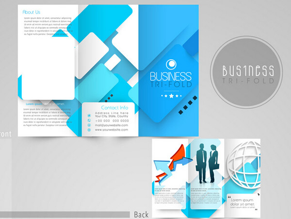 Creative Blue Tri-fold Business Brochure Vector