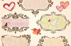 Hand Drawn Valentine's Day Ornaments Vector