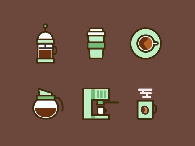 6 Coffee Icons Vector