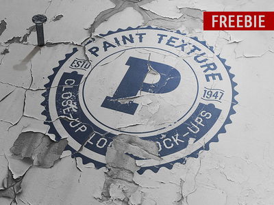 Old Paint Close-up Logo Mockup PSD