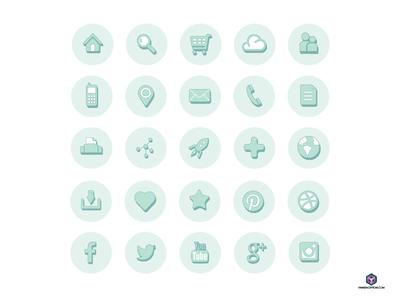 25 Circle Web Icons Vector