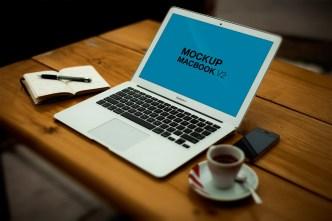 MacBook Air On Desk Mockup PSD