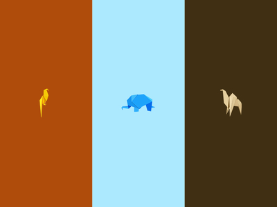 Origami Animal Icons Vector