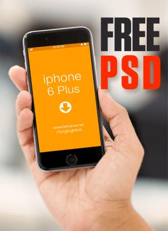 iPhone 6 Plus Held In Hand Mockup PSD