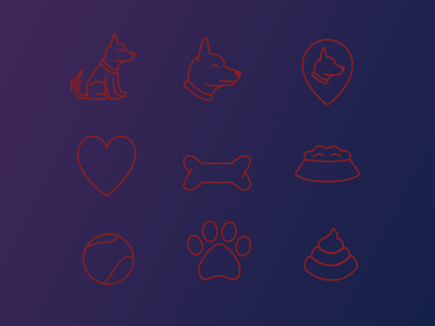 9 Puppy Icons Vector