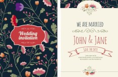 Graceful Floral Wedding Invitation Card Vector