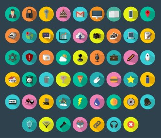 52 Colorful Flat Icons Vector