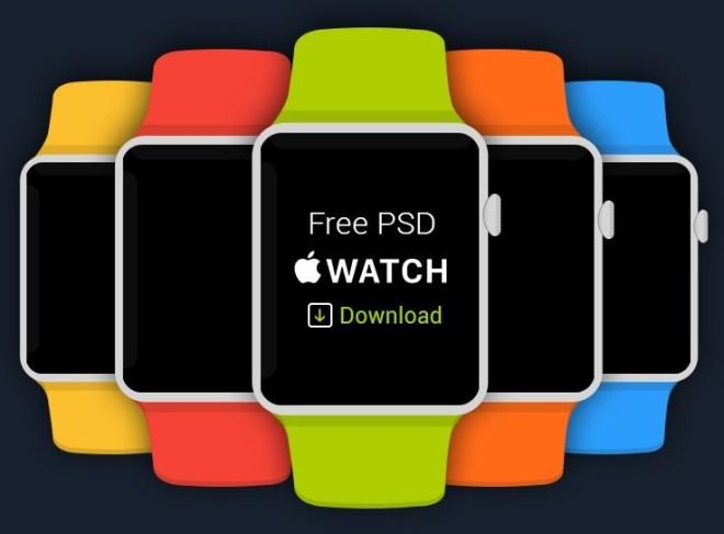 5 Flat Apple Watch Templates PSD