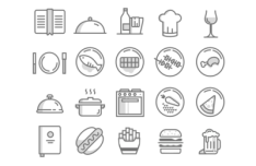 20 Minimal Food Icons (PSD + Vector)