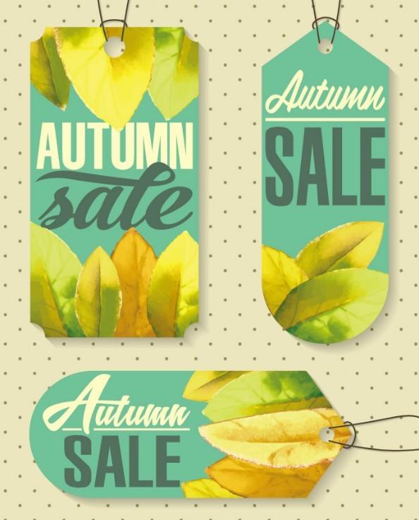 Autumn Sale Labels (Maple Theme) Vector