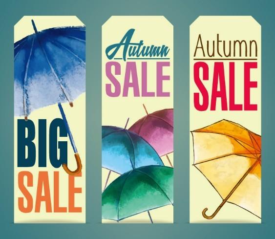 Autumn Sale Labels (Umbrella Theme) Vector