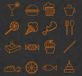 Food & Drink Line Icon Set PSD