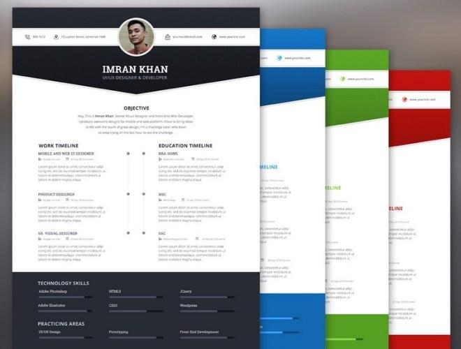 4 Color Modern Resume Template PSD