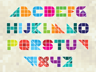 Colorful Block Letters Vector