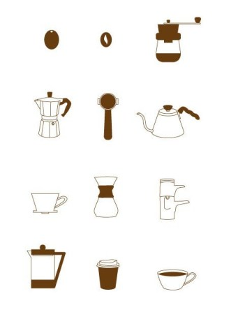 12 Coffee Icons (PNG+SVG)