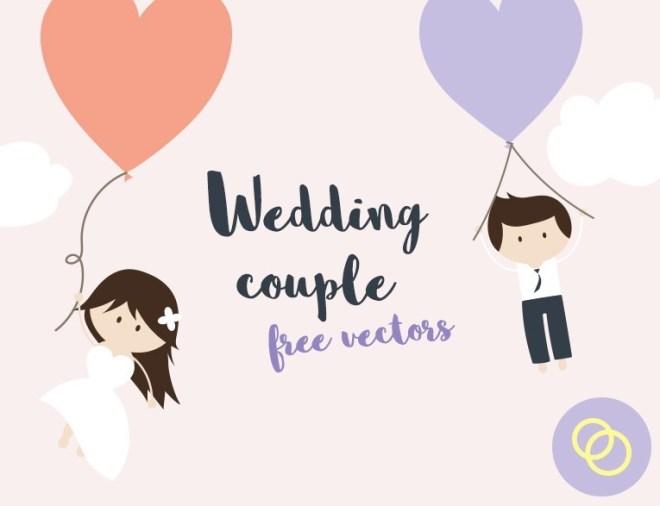 Cartoon Wedding Couple Vector