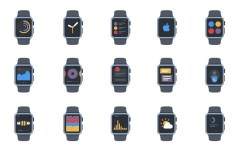 20 Flat Apple Watch Icons Vector