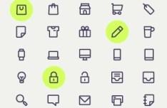 25 Minimal Line Icons (AI+PSD)