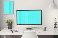 iMac 5K Retina with Office Items Mockup PSD