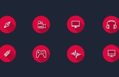 8 Flat Long Shadow Circle Icons