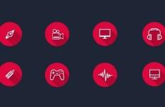 8 Flat Long Shadow Circle Icons