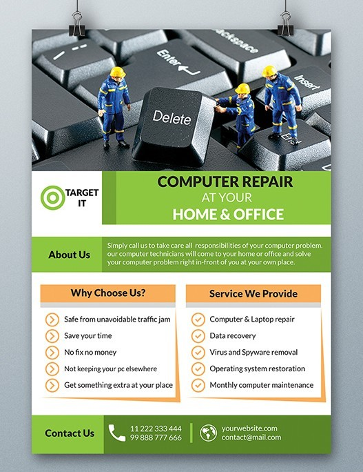 Free Computer Repair Flyer Template PSD - TitanUI