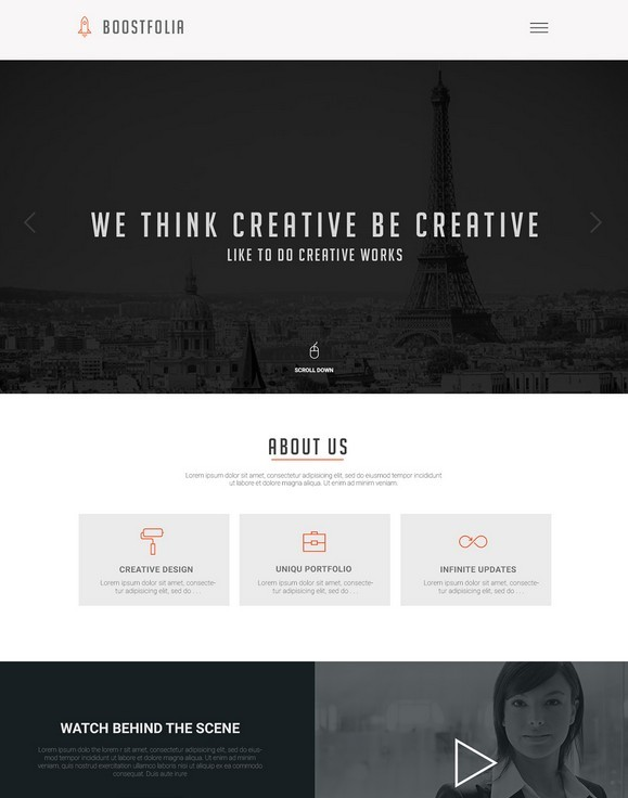 Boostfolia Onepage Website Template PSD