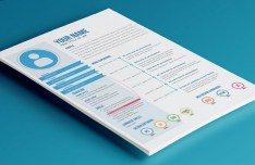 Modern Blue Resume Template PSD