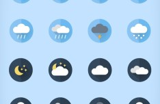 16 Flat Weather Icons